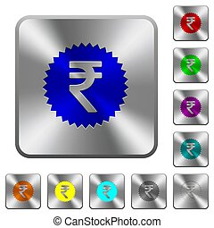Indian Rupee sticker rounded square steel buttons