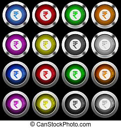 Indian Rupee sticker white icons in round glossy buttons on black background