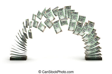Indian Rupee Transfer (isolated with clipping path)