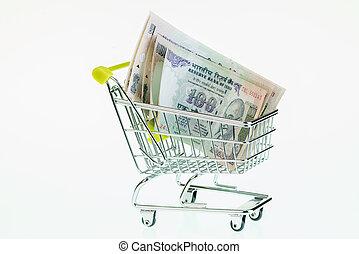 Malaysian ringgit in shopping cart  Malaysian ringgit in