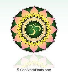 Indian sacred symbol Aum inside mandala shape