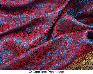 Indian Sari Scarf Material 4 - Indian silk sari scarf...