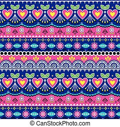 Indian seamless vector pattern, Pakistani truck art design, navy blue and pink ornament with flowers and abstract shapes