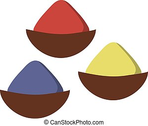 Indian seasoning spices in little stainless wooden bowls vector