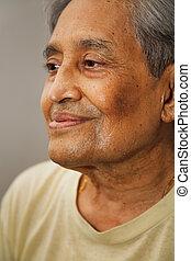Indian senior citizen - Closeup portrait of an elderly...