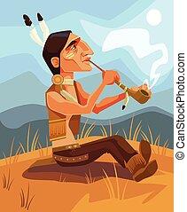 Indian shaman chief character smoking pipe of peace. Vector flat cartoon illustration