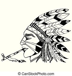 Indian shaman in ethnic costum smokes a pipe of peace coloring page. Native American man tattoo art. Pattern isolated. Vector hand drawn anti stress ornament design element. Cartoon logo, t-shirt, icon.