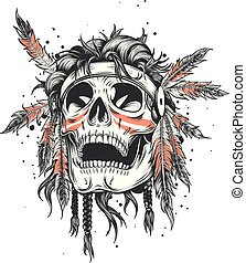Skull of an indian warrior vector illustration. War paint and native american feathers headwear. Isolated on white.