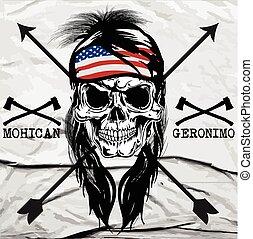 Indian skull typography, t-shirt graphics, vectors