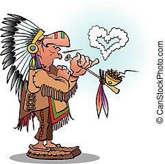 Vector cartoon illustration of an indian chief smoking a pipe blowing a heart