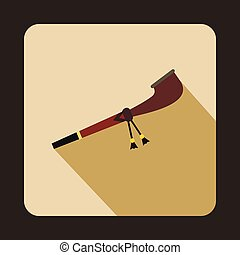 Indian smoking peace pipe icon in flat style isolated with long shadow