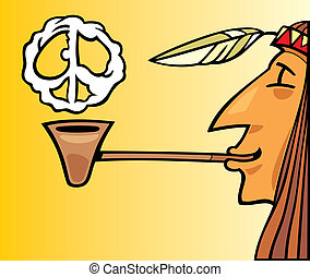 Indian smoking pipe of peace - Illustration of indian...