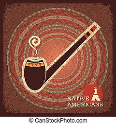 Indian smoking pipe poster - Native American indian smoking...