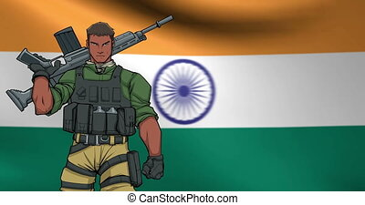 Indian Soldier Background Animation - Looping animation of...