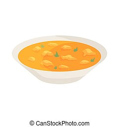Indian soup icon, cartoon style