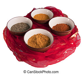 Indian spices - Four spices typical of indian cuisine: cumin...