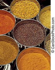 Masala box - Indian spices - Masala box containing fenugreek...