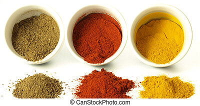 Indian spices on isolated background - Turmeric, cumin and ...
