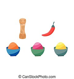 Indian spices set - colorful powders in bowls, black and red chilli pepper