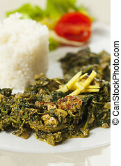 indian spinach curry with basmati