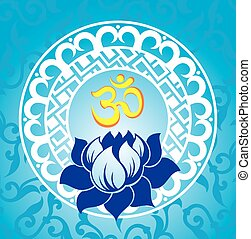 Indian spiritual sign ohm  - Lotus illustration