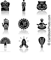 Indian spiritual symbols drop shadow black glyph icons set