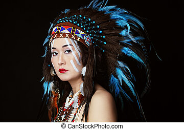 Indian - Young woman in costume of American Indian