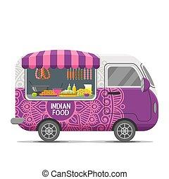 Indian street food vector caravan trailer