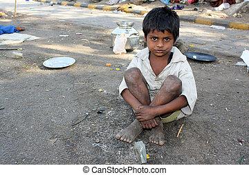 indian, streetside, 子供