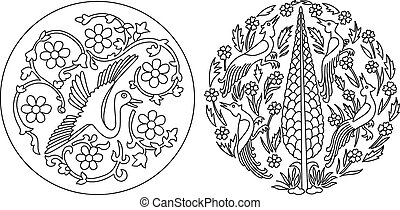Indian style motif in black and white