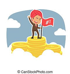 Indian successful businessman on coins peak