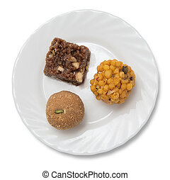 Indian sweets on a plate