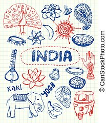 Indian Symbols Pen Drawn Doodles Vector Collection