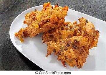 indian táplálék, vöröshagyma bhaji