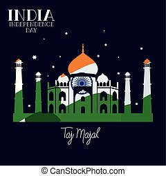indian taj majal temple with flag colors background