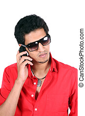 Indian Talking on Mobile Phone