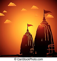 Indian temple architecture sunset - Indian temple...