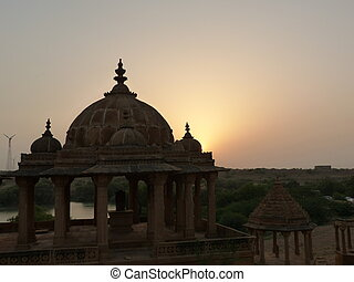 Indian temple at sunset
