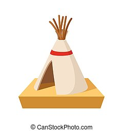 Indian tent cartoon icon