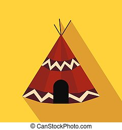 Indian tent flat icon