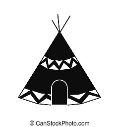 Indian tent icon - Indian tent black simple icon isolated on...