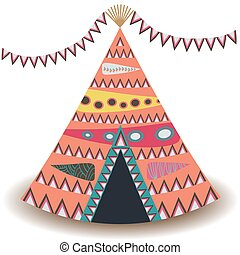 Indian tent or wigwam pierced with arrows isolated on white background. cartoon close-up illustration.