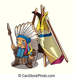 Indian tent or wigwam teepee and Indian man with spear isolated on white background. Vector cartoon close-up illustration.
