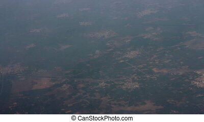 Indian territory near Delhi. View from bird flight - cities...