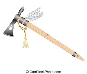 tomahawk - Indian tomahawk battle ax on a white background
