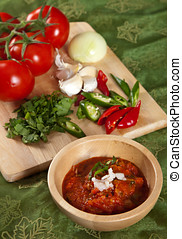 Indian tomato dip - Delicious indian tomato dip with chili...