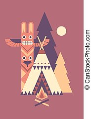 Indian totem and tent - Indian wigwam, totem and fir trees....