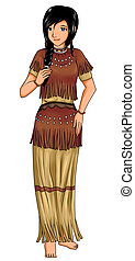 Cartoon style illustration of Native American girl in traditional costume
