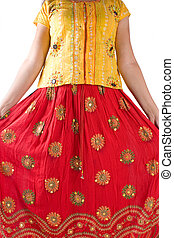 Indian traditional dress - Young girl wearing Indian...
