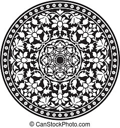 Indian traditional pattern of black